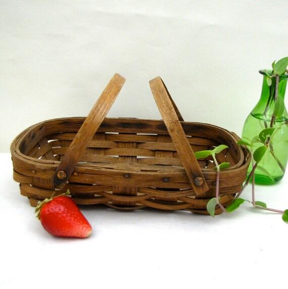 Vintage Berry Basket hand woven copper rivets 1900 Split Oak low and shallow Farmers Market