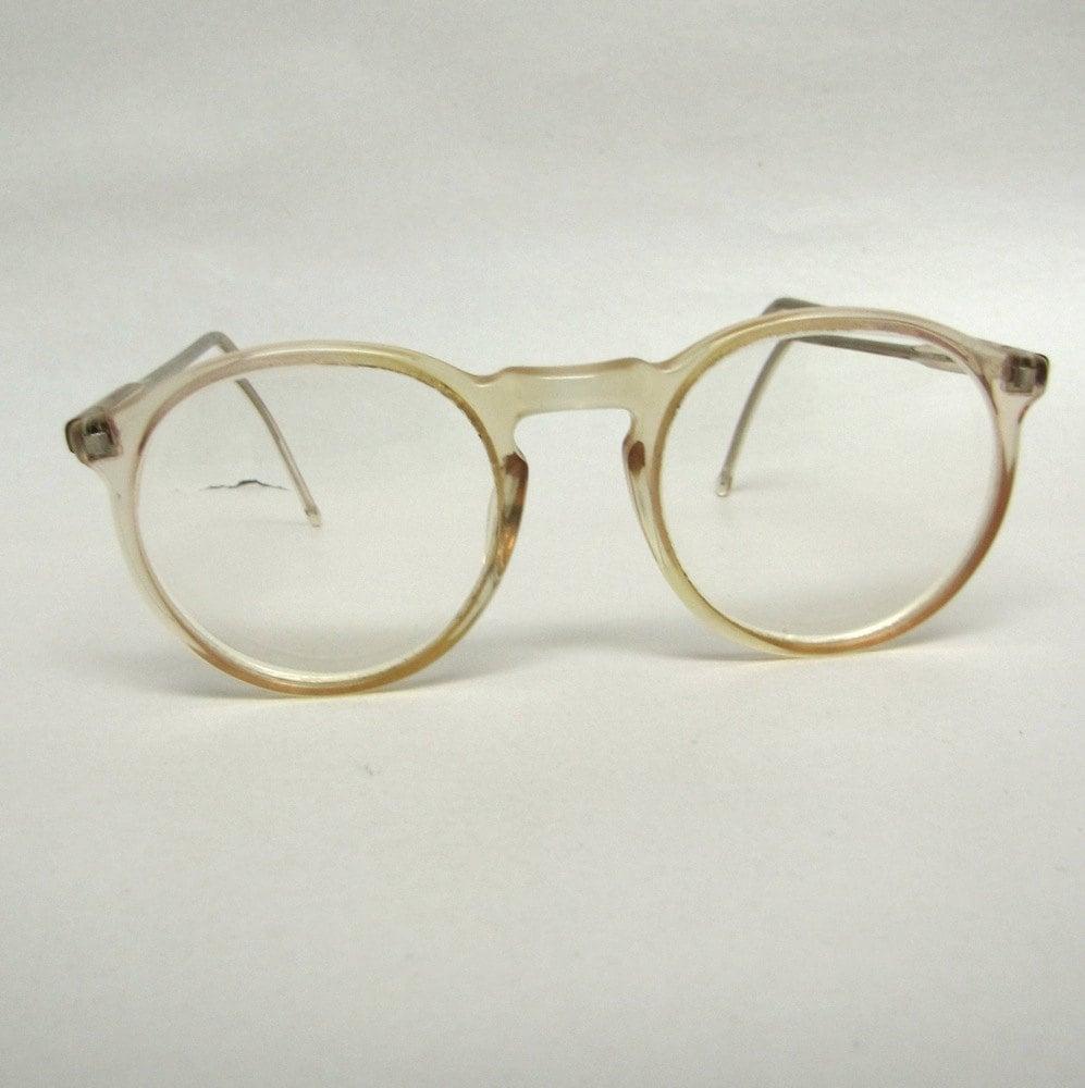Glasses Frame Clear : Vintage horn rim round eyeglasses frames 80s Clear Tart Arnel