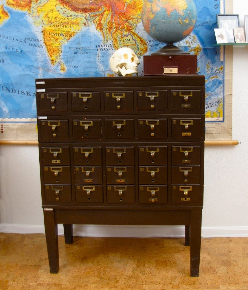 Wooden Library Furniture ~ Vintage wooden card catalog industrial school library