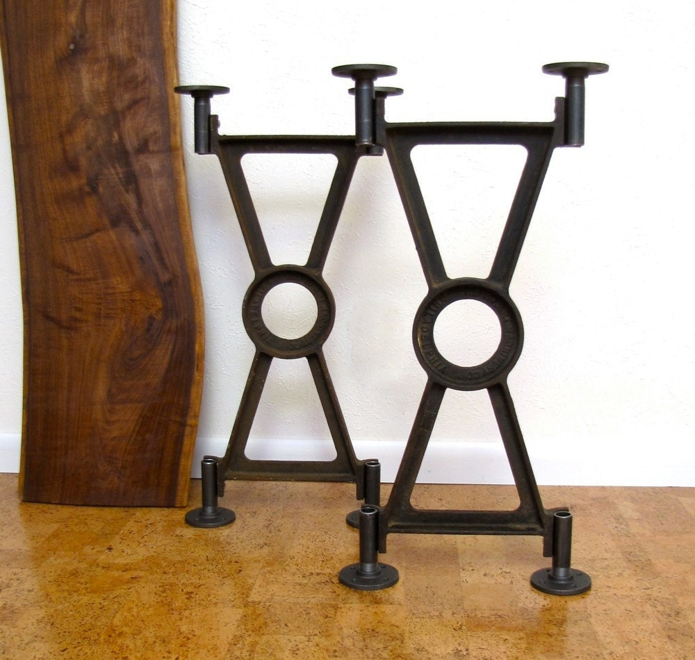 Vintage Industrial Table Base Pair Cast Iron Early 1900s