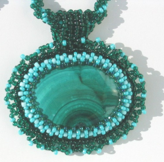 Tupelo malachite cabochon necklace