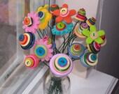Flowers Never Fade Button and Felt Flower Bouquet