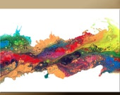 SALE Original ABSTRACT Modern Contemporary Fine Art Paintings by dWo - Large 36x24 - Over the Rainbow