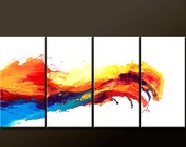 RESERVED 4pc Abstract Canvas Art Painting - 72x36 Contemporary Original Modern Art by Destiny Womack  - dWo - Waves of Euphoria