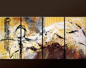 4pc Abstract Canvas Art Prints Set 80x30 Contemporary Modern Art Giclee Print on Wrapped Canvas by Destiny Womack - Beauty & Chaos - dWo
