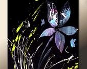 SALE Original Abstract Floral Garden Art Painting on Canvas 16x20 Modern Fine Art  by Destiny Womack - dWo - The Garden