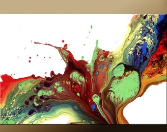 Abstract Art Print Large Contemporary Rainbow Art Canvas Wrap Wall Decor by Destiny Womack - If I Was a Bird - dWo