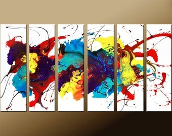 Abstract Art - Huge Custom Made 6 pc Modern Contemporary Fine Art Painting by Destiny Womack - dWo - GIANT 72x36
