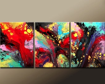 "3pc Abstract Modern Art Painting 54""  Custom Made to Order Original Contemporary Art  on Canvas by Destiny Womack - dWo -"