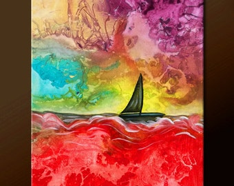 Abstract Art Painting - Original Contemporary Sail Boat Ship Nautical Art by Destiny Womack -  dWo - MADE TO ORDER