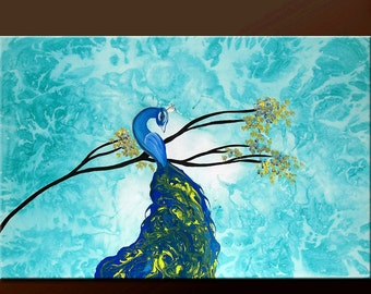 Abstract Canvas Art Painting Custom Made to Order Original 36x24 Contemporary Peacock Bird Art by Destiny Womack -  dWo -
