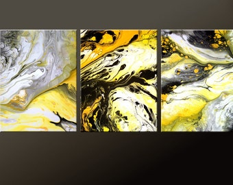 3PC Abstract Art Print Set Yellow Black & White 11x14 ea Contemporary Modern Art by Destiny Womack  - dWo - Symphony of Light