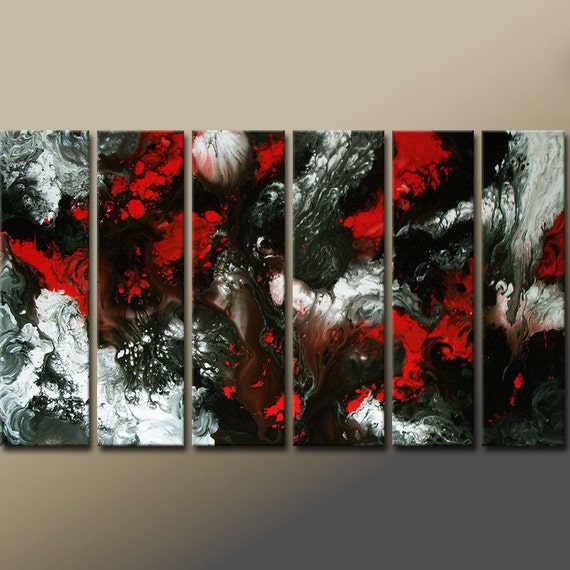 Huge 6PC Original Custom Made Abstract Modern Contemporary Fine ART Painting by Destiny Womack - dWo - GIANT 60x30