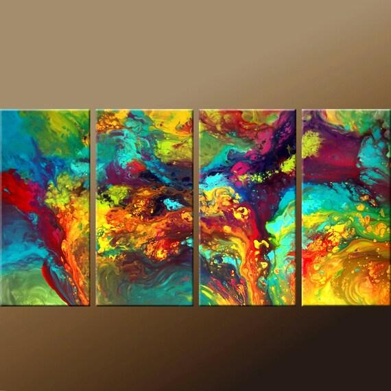 abstract canvas art painting huge 4pc original custom made