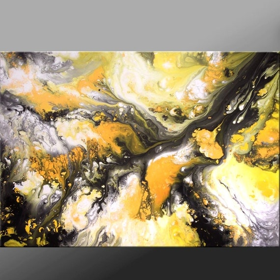 Abstract Yellow Paintings Abstract Art Painting 36x24