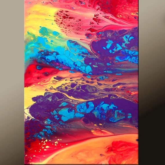 Abstract Canvas Art Paintings- 18x24 Contemporary Modern Original Art by Destiny Womack - dWo - Through the Rainbow