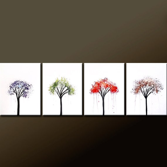 4pc Abstract Modern Landscape Tree Art Painting Original Modern Contemporary Art on Canvas by Destiny Womack - dWo - The Seasons