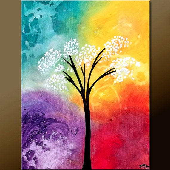 Abstract Landscape Art Painting on Canvas 18x24 Original Contemporary Modern Tree Paintings  by Destiny Womack - dWo - Beautiful Solitude