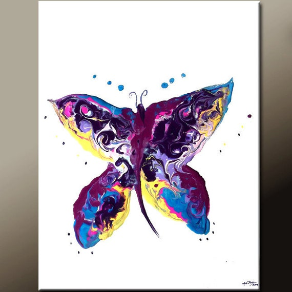 Abstract Art Painting - Original Contemporary Art on Stretched Canvas by Destiny Womack -  dWo - The Dancing Butterfly