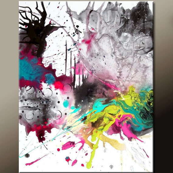 Abstract Canvas Art - 16x20 Contemporary Modern Original Painting by Destiny Womack - dWo - Letting Go