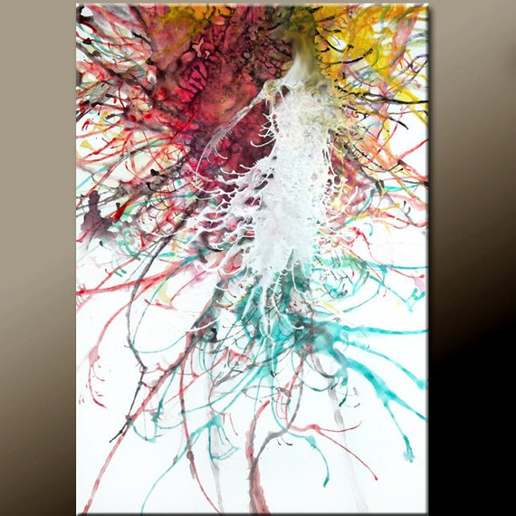 Abstract Art Painting on Canvas 36x24 Original Modern Contemporary Art by Destiny Womack - dWo - Unleashed Emotion