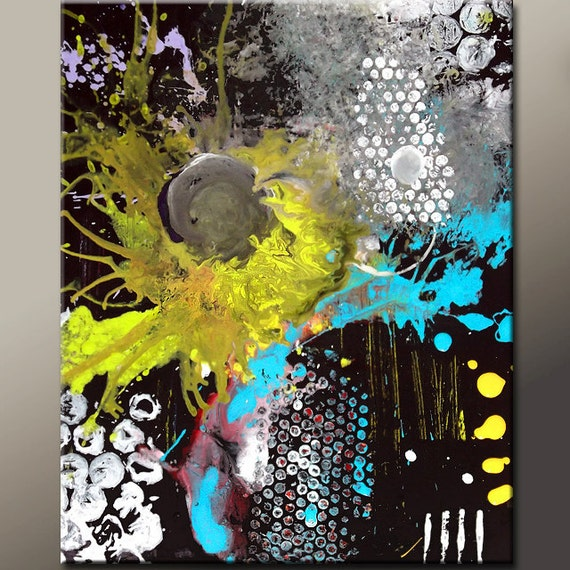 Custom Abstract Canvas Art Painting MADE TO ORDER -  18x24 or 24x36 Contemporary Modern Original Art by Destiny Womack - dWo -