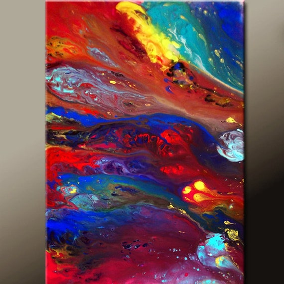 Abstract Modern Art Painting 36x24 Original Contemporary Canvas Art by Destiny Womack - dWo - Against The Current - ON SALE