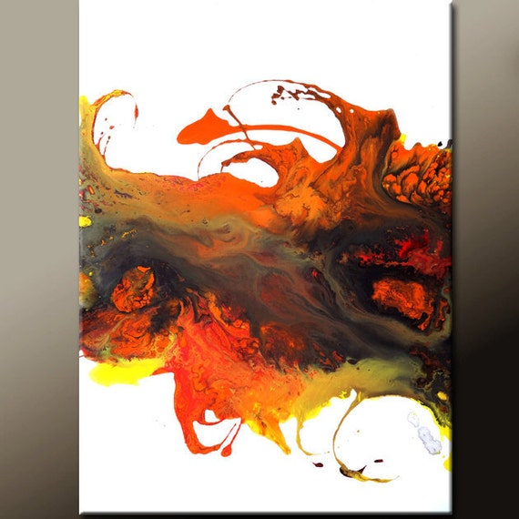 Abstract Painting 18x24 Original Contemporary Canvas Art Orange Red Black Yellow by Destiny Womack -  dWo - In The Flames