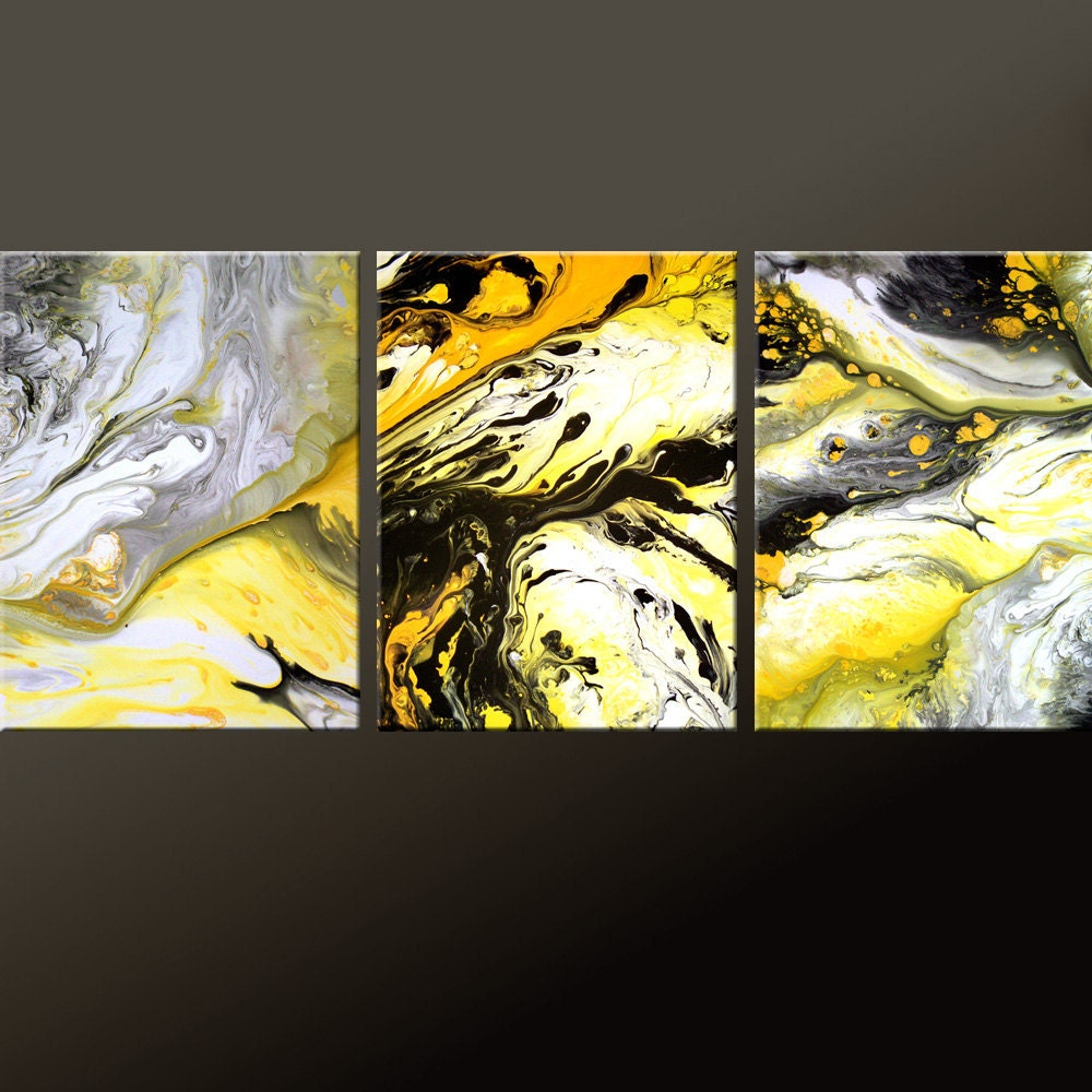 3PC Abstract Art Print Set Yellow Black & White 11x14 ea Yellow Black Abstract Paintings