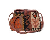 kilim and leather shoulder bag