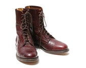 Burgundy Leather Ankle Boots size 7