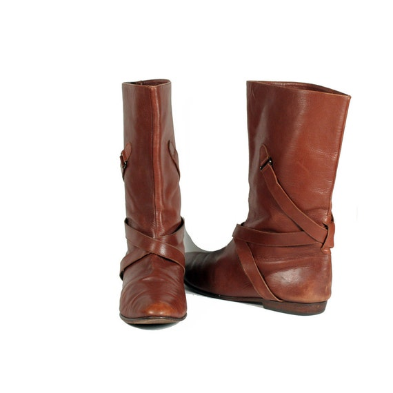 size 8.5 brown Italian leather boots