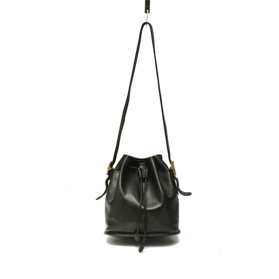 black leather drawstring bucket Coach bag