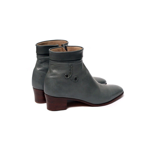 size 7.5 blue gray leather ankle boots