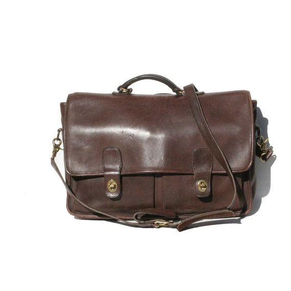 Dark Brown His or Hers Coach Leather Briefcase