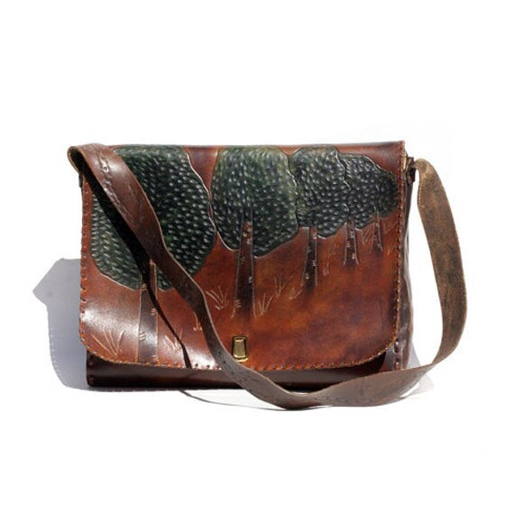Vintage Hand Tooled Leather Briefcase