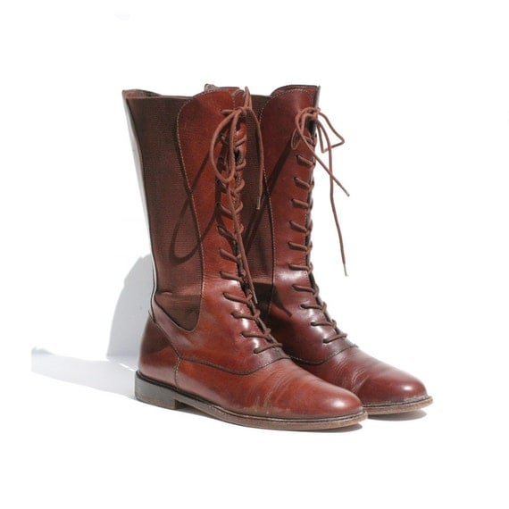 size 7 Cole Haan brown leather Chelsea mid calf boots