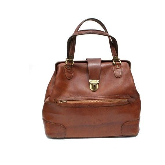 vintage large brown leather weekend bag