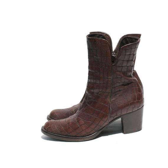 Size 6.5 Italian Brown Leather Reptile Pattern  Ankle Boots