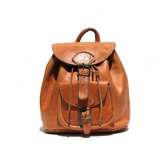 Rugged Leather Bucket Backpack