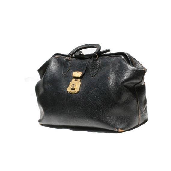 Vintage Distressed Black Leather Weekend Bag