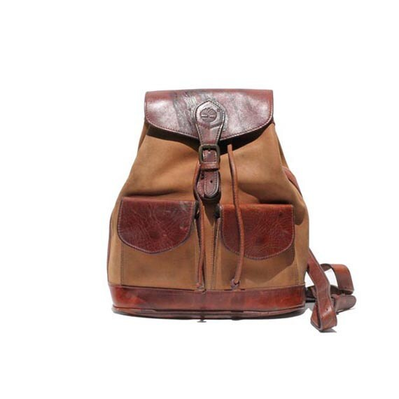 Two Tone Brown Leather Draw String Bucket Backpack