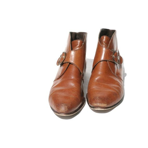 Nine West mocha brown Leather Strap Ankle Boots size 7