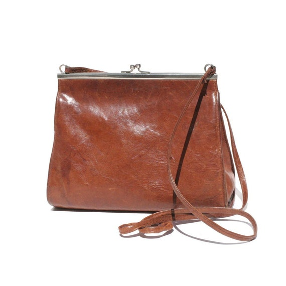 Vintage Small Cute Brown Leather Shoulder or Cross Over Bag