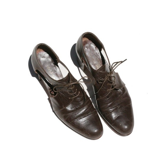 size: 5.5  Cabin Plank Brown Leather Oxford Shoes