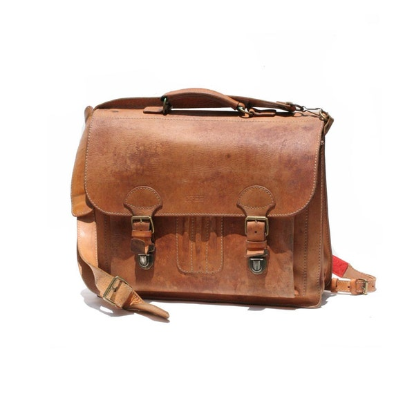 Tan Leather Backpack  Briefcase