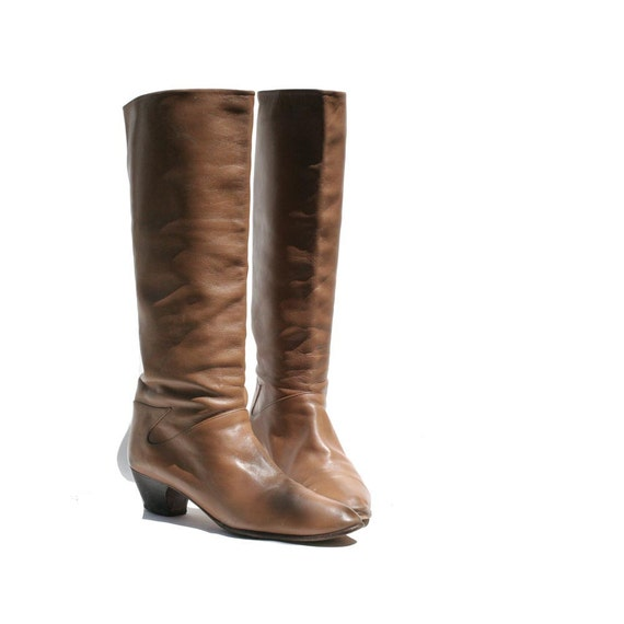 Tan Soft Leather Tall Boots size 9