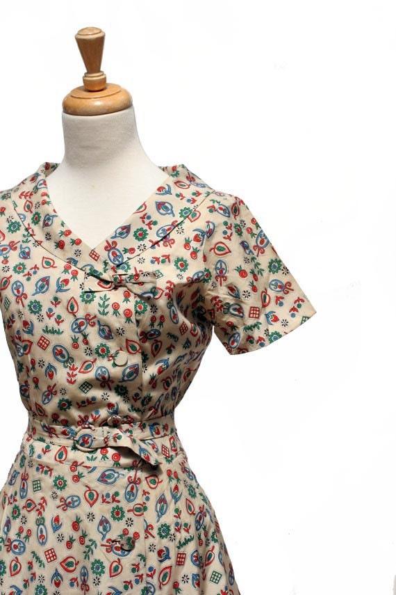 Vintage Japanese Silk Cotton Print Day Dress