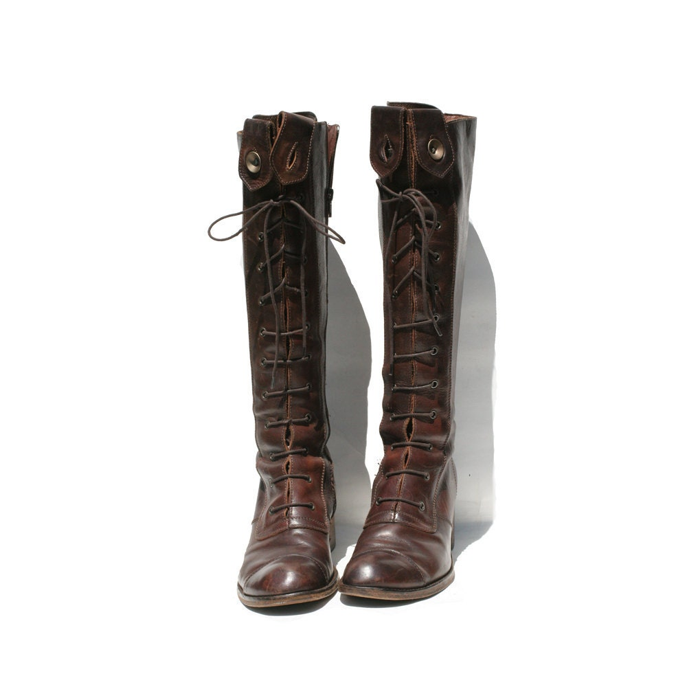 size 9 vintage italian lace up brown boots