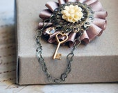 Charlotte Brooch - Pale Taupe Almond Flower - Heart Chain